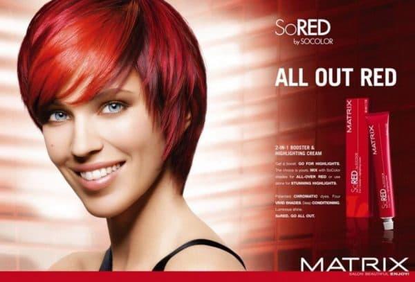 Красная стойкая краска для волос MATRIX SO BOOST