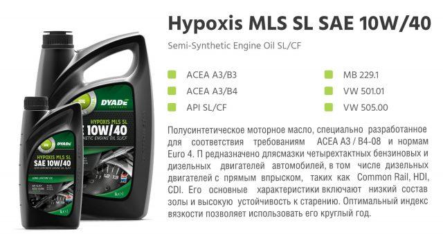 Автомобильное моторное масло полусинтетическое DYADE Hypoxis MLS SL SAE 10W/40