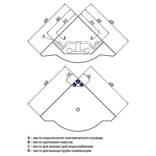 Тумба с раковиной Акватон - Альтаир 62 (размеры и схема)