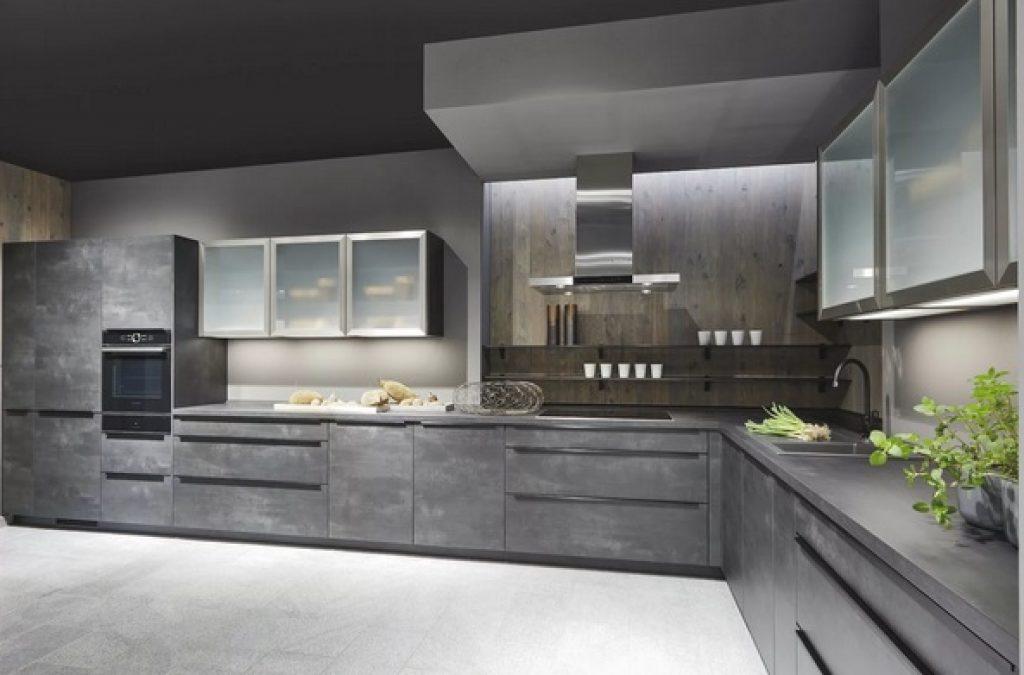 серая кухня - конструкционный бетон