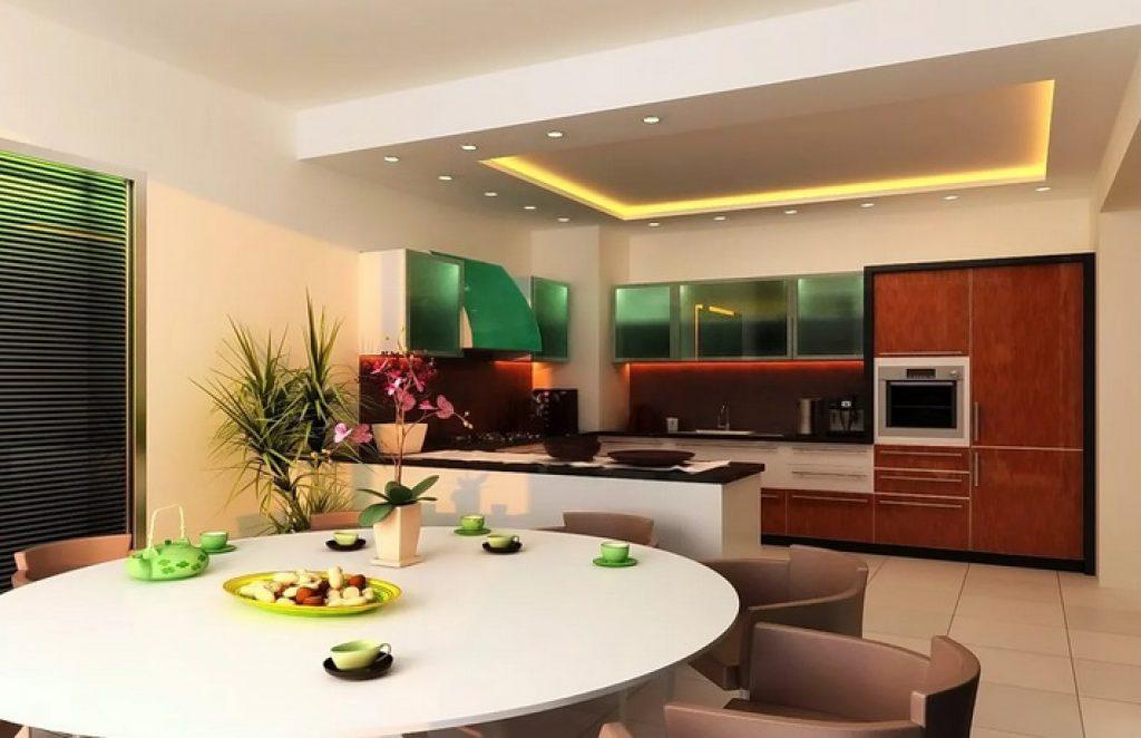 Кухня-гостиная зонирование светом