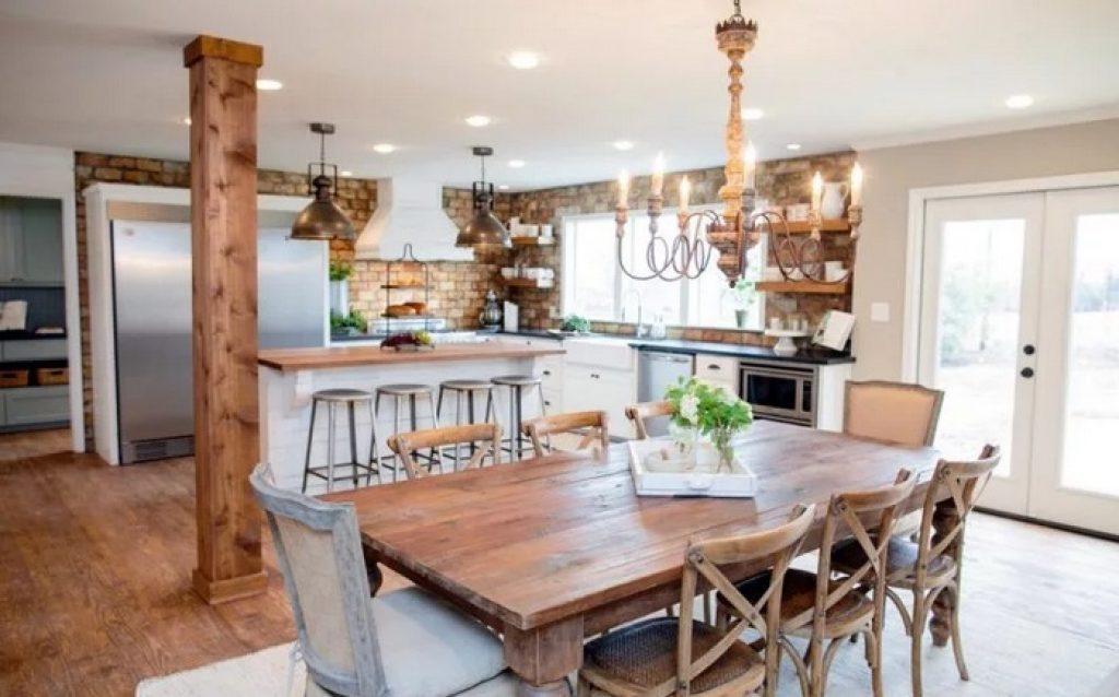 кухня-гостиная кантри