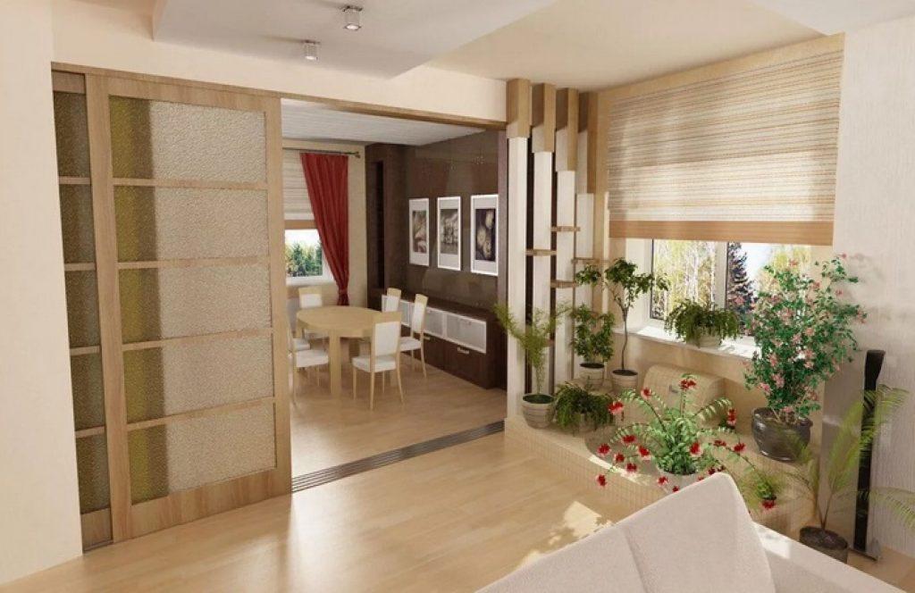 кухня-гостиная раздвижные двери