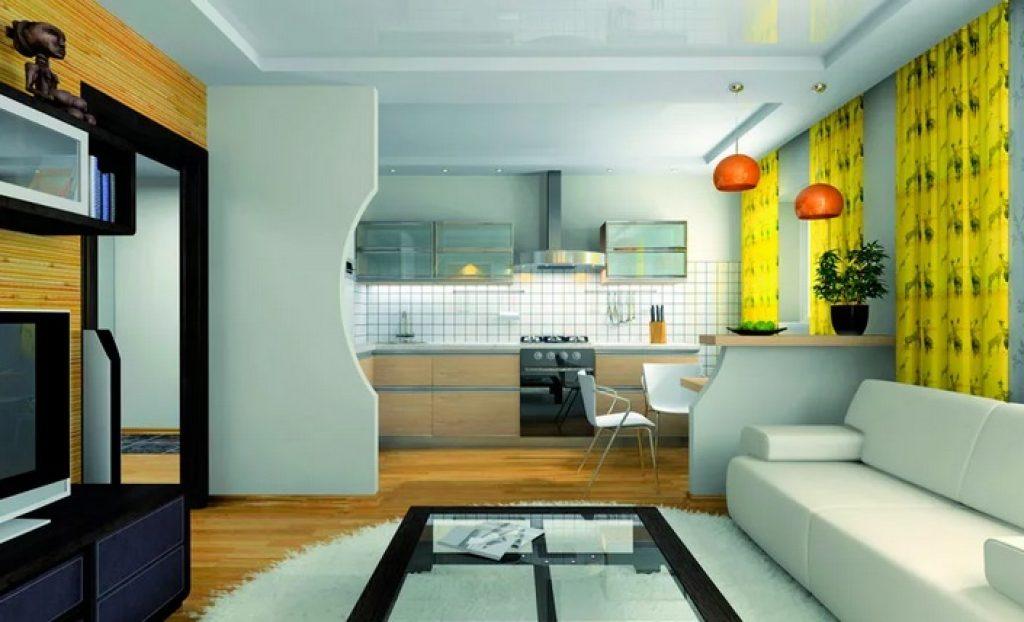 кухня-гостиная стены