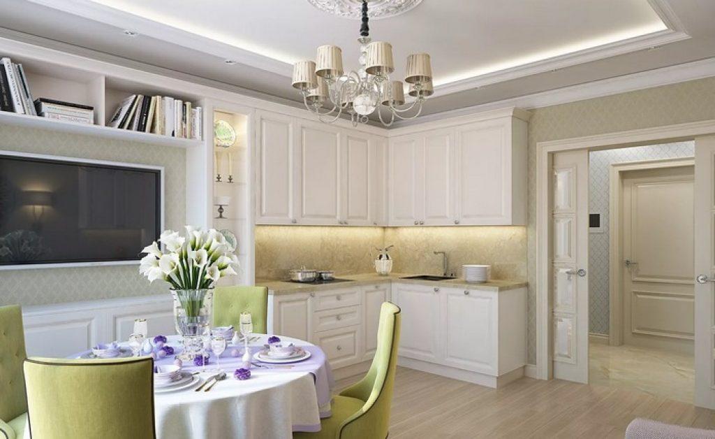 кухня-гостиная в светлых тонах
