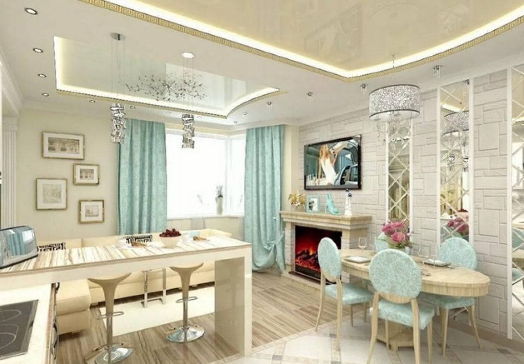 кухня-гостиная в светлых тонах2