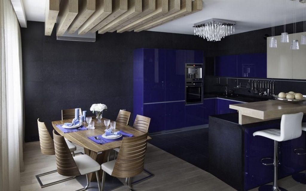кухня-гостиная в темных тонах