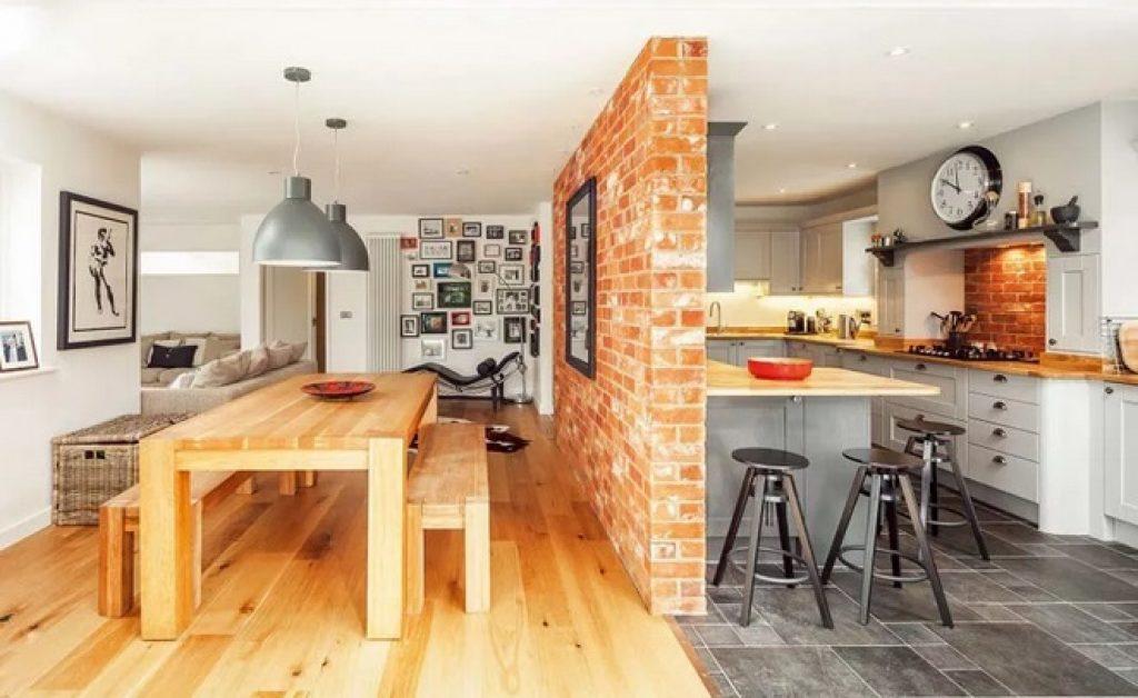кухня-гостиная зонирование фальшивой стенкой