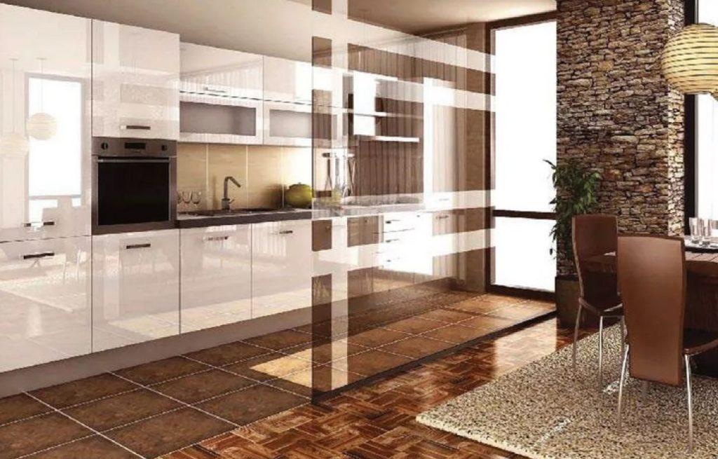 кухня-гостиная зонирование на полу