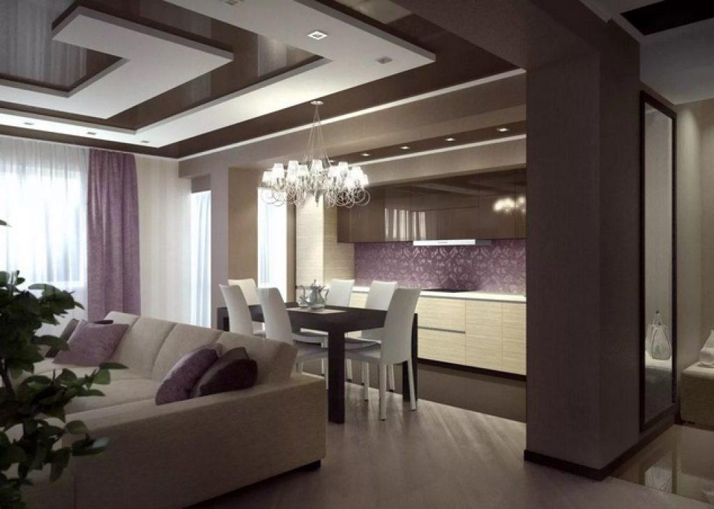 кухня-гостиная зонирование потолка