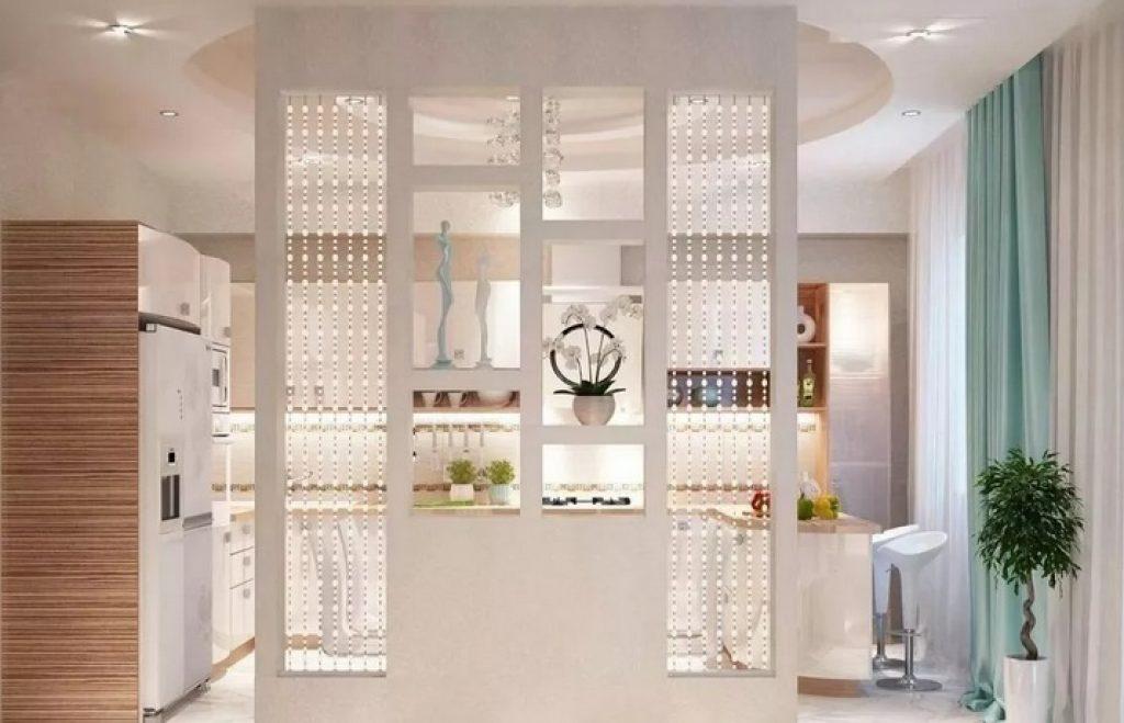 кухня-гостиная зонирование стеллажом