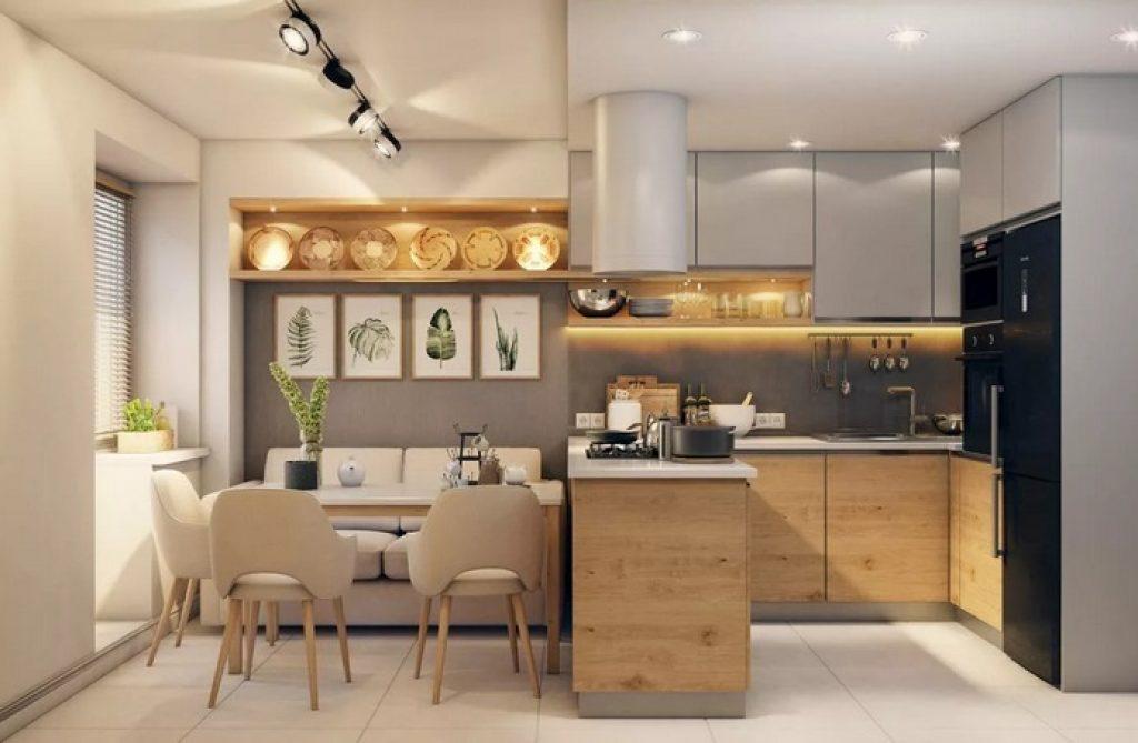 квадратная кухня-гостиная г-образная